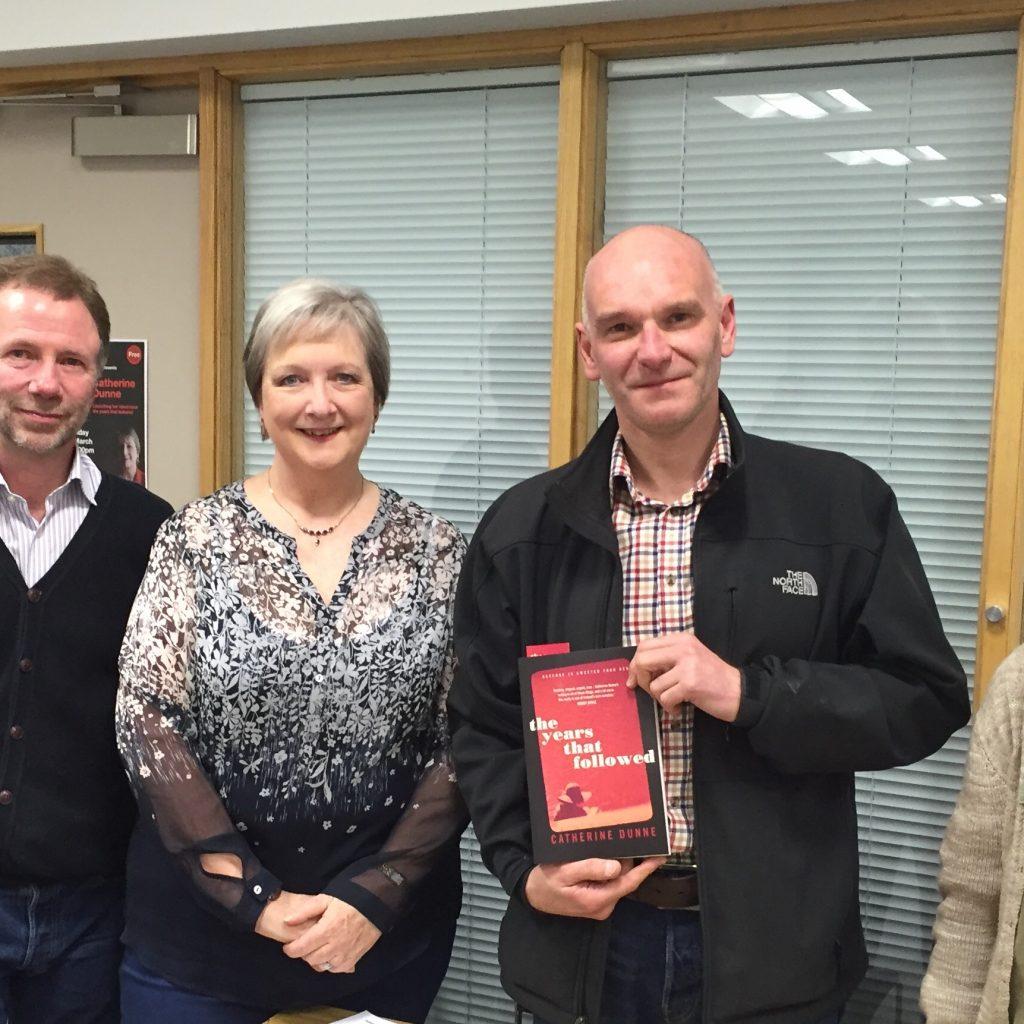The Years That followed launch - Carrickfergus Launch 4 David Torrens + Claudia of No Alibis Bookshop David Adamson of Macmillan on left