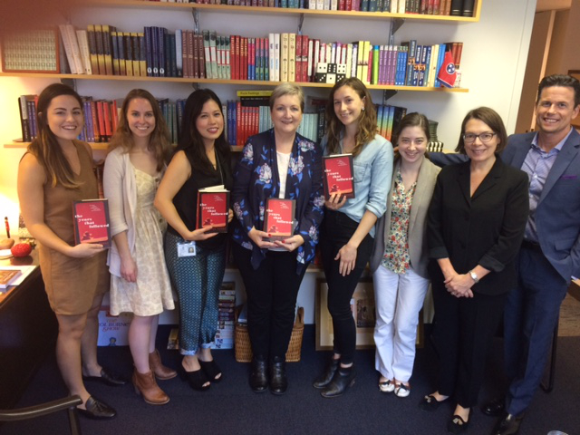 "Kelsey on far left, Courtney in pale yellow dress, Tara Parsons, me, Elizabeth ""Beth"" Ireland, Kaitlin, Trish Todd and David Falk. New York - The Years That Followed - Touchstone Team NYC 19 October 2016."